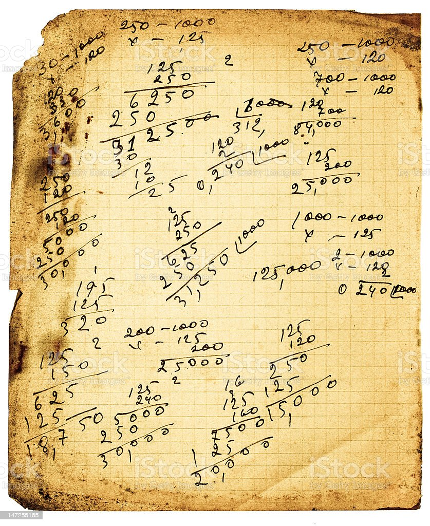 Vintage calculations royalty-free stock photo