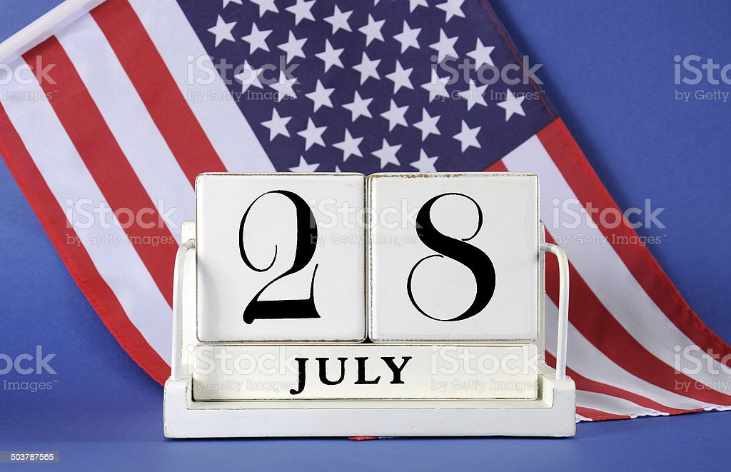 Vintage calendar, 28 July, World War I with USA flag stock photo
