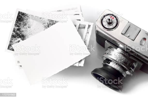 Vintage Camera Amp Blank Photopaper Stock Photo - Download Image Now