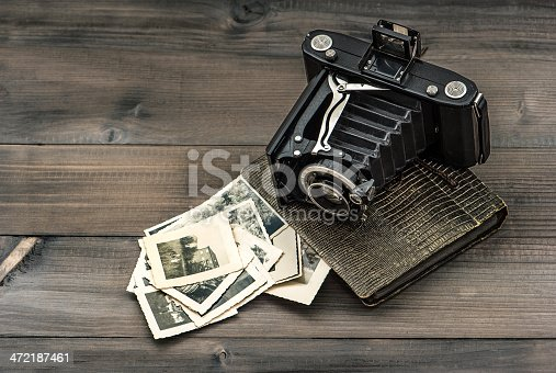 609706398 istock photo vintage camera and album with old photos 472187461