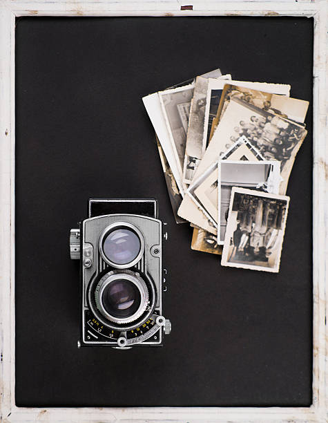 Vintage camera and old photos