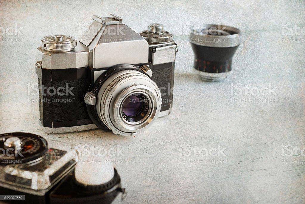 Vintage camera gear royaltyfri bildbanksbilder