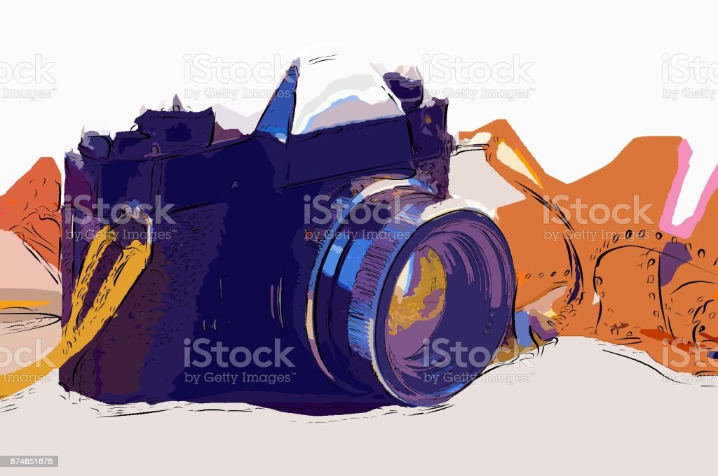 Vintage camera in cartoon style. stock photo