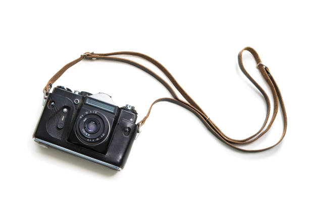 vintage camera isolate on white background - camera photographic equipment stock photos and pictures