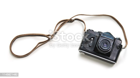 Vintage camera isolated on white background, top view