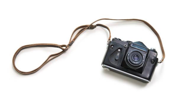 Vintage camera isolated on white background stock photo