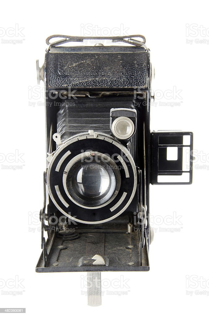 Vintage Camera Isolated on White Front View stock photo