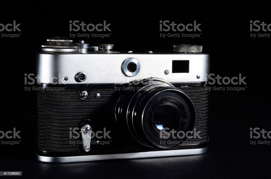 Vintage Camera on black background stock photo