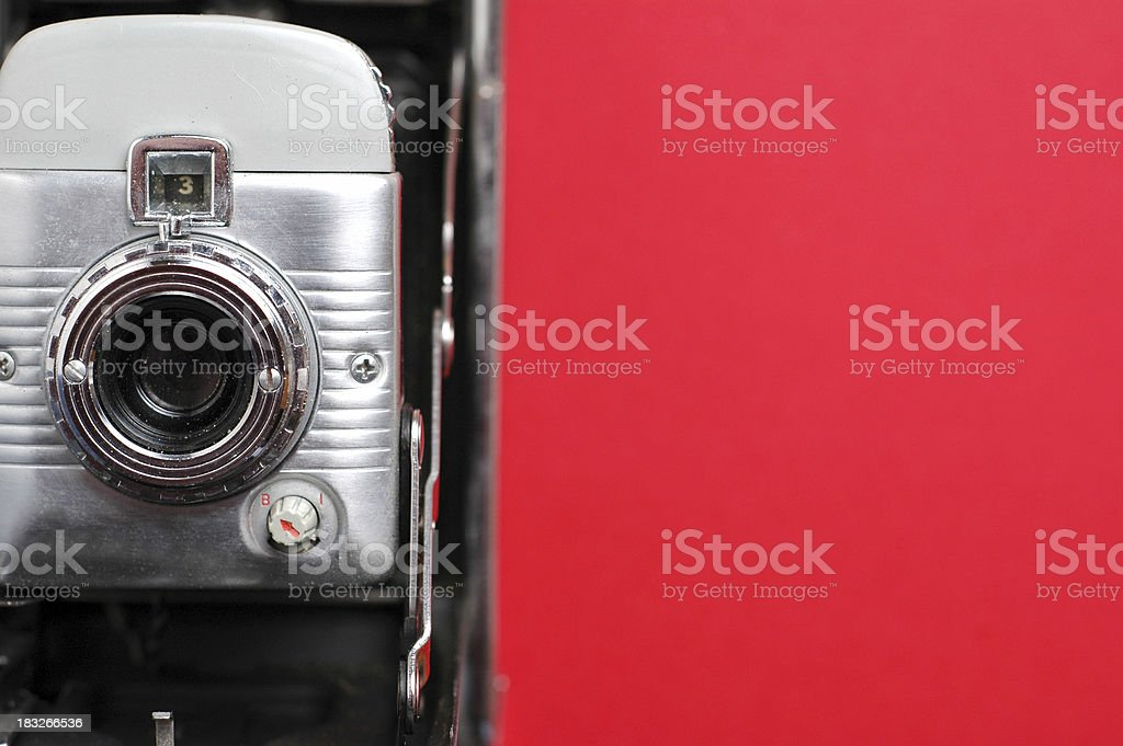 Vintage Camera on Red - #2 (Room for Text) royalty-free stock photo