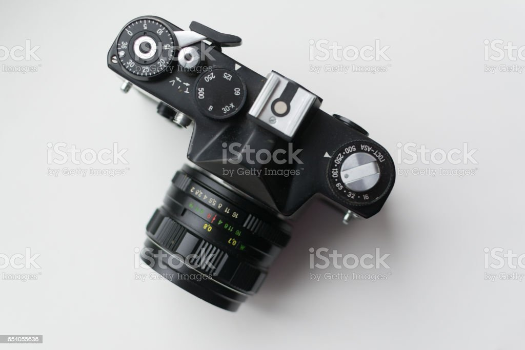 Vintage camera, top view stock photo