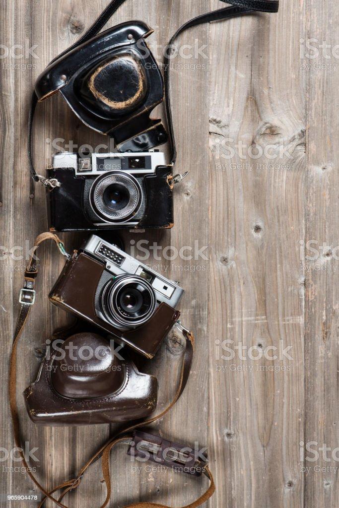 Vintage camera's boven weergave. - Royalty-free Antiek - Ouderwets Stockfoto