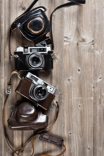 Vintage Cameras Boven Weergave Stockfoto en meer beelden van Antiek - Ouderwets