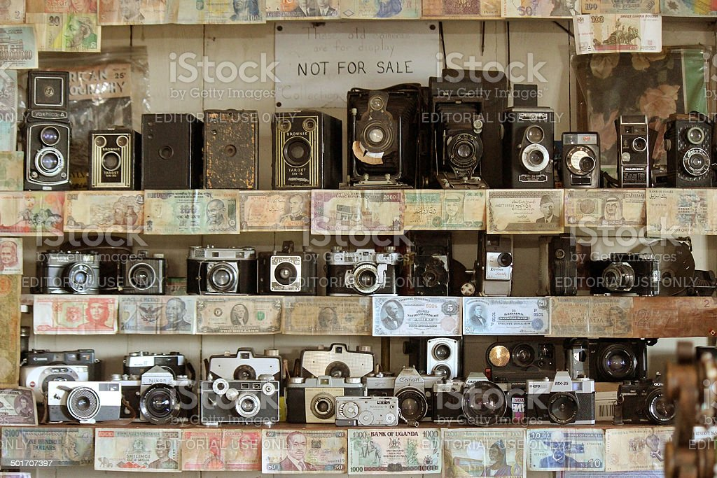 Vintage Cameras and Currency stock photo