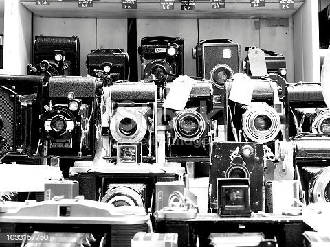 Collection of old vintage cameras for sale at street market
