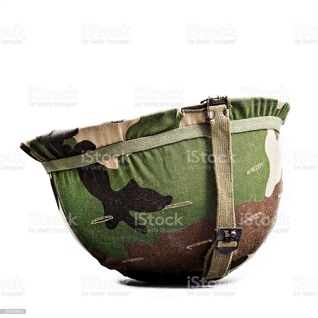 vintage camouflage helmet stock photo