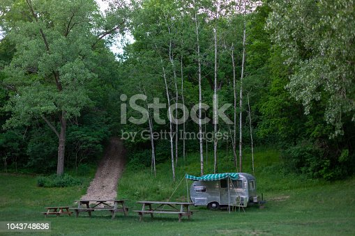 Vintage camper sits near the forest.