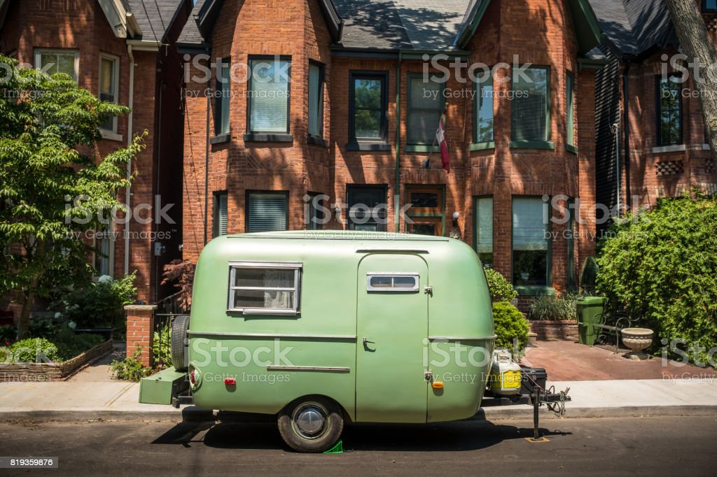 Vintage Camper in the City stock photo