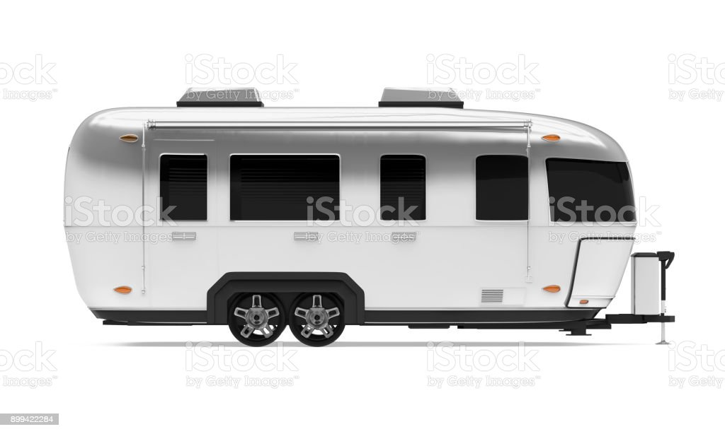 Vintage Camper Trailer Isolated stock photo