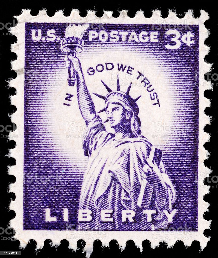 Vintage canceled stamp three cent Statue of Liberty stock photo