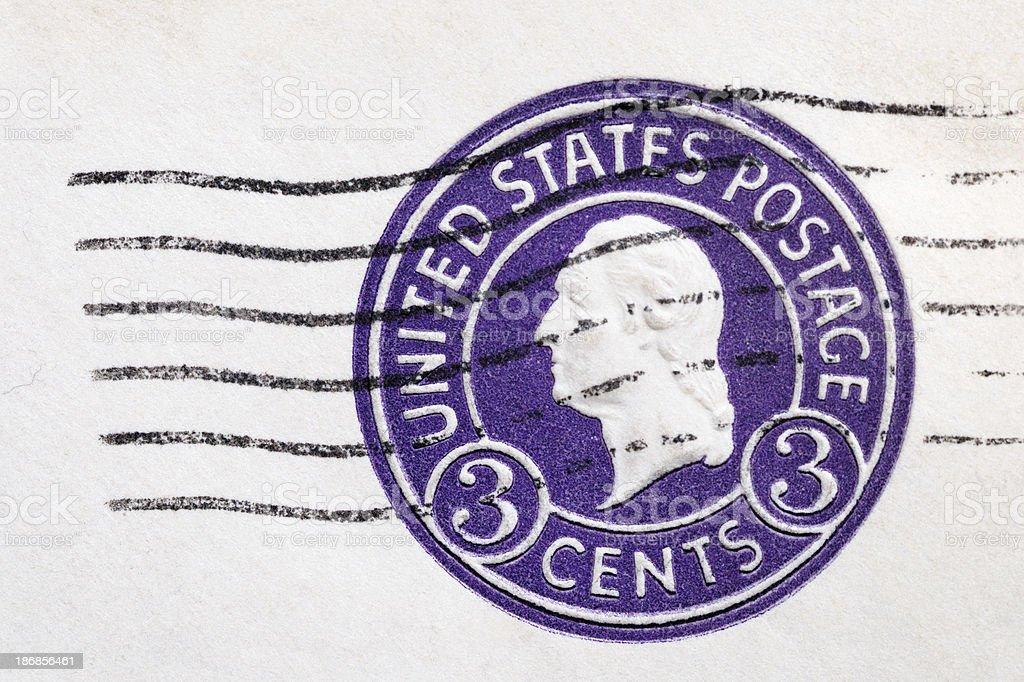 Vintage canceled three cent Washington postage stock photo