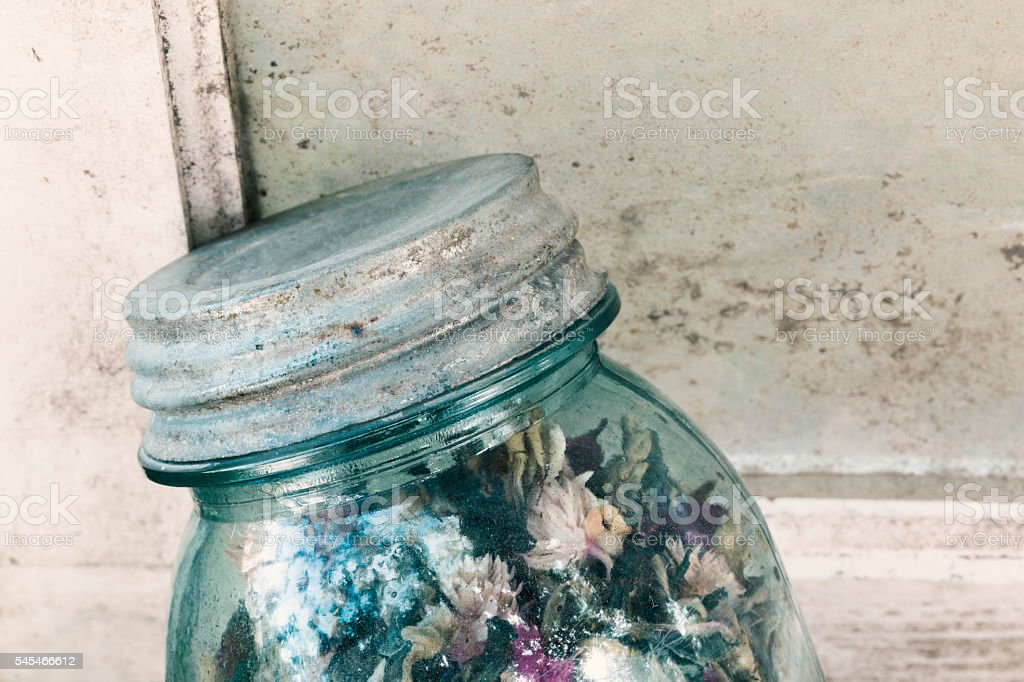 Vintage Canning Jar Filled with Potpourri stock photo