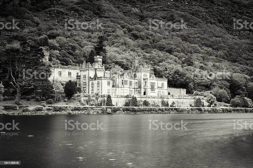 Vintage capture of Kylemore Abbey stock photo