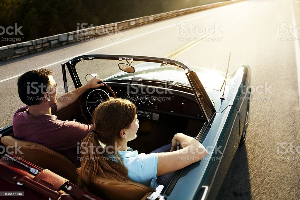 Vintage Car Couple  Adult Stock Photo
