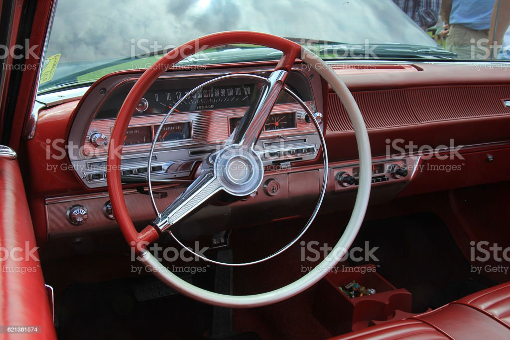 Vintage car dashboard stock photo