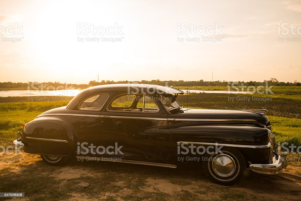 Vintage car Desoto is a rare old car in thailand stock photo