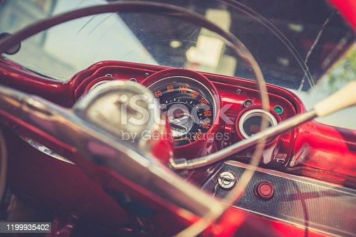 old vintage car steering wheel detail in havana, cuba.