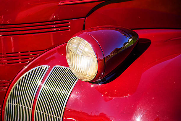 Vintage Car Headlight and Fender Close Up stock photo