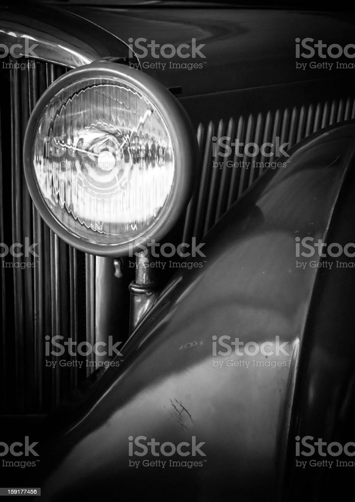 Vintage Car Headlight Detail stock photo