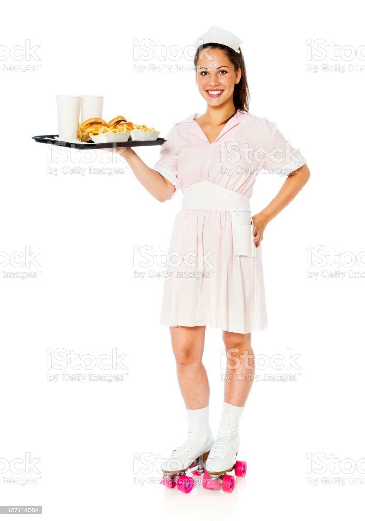 Vintage Car Hop Waitress stock photo