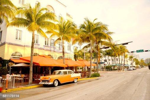 Vintage Car in Ocean Drive, Miami Beach, Florida, USA.