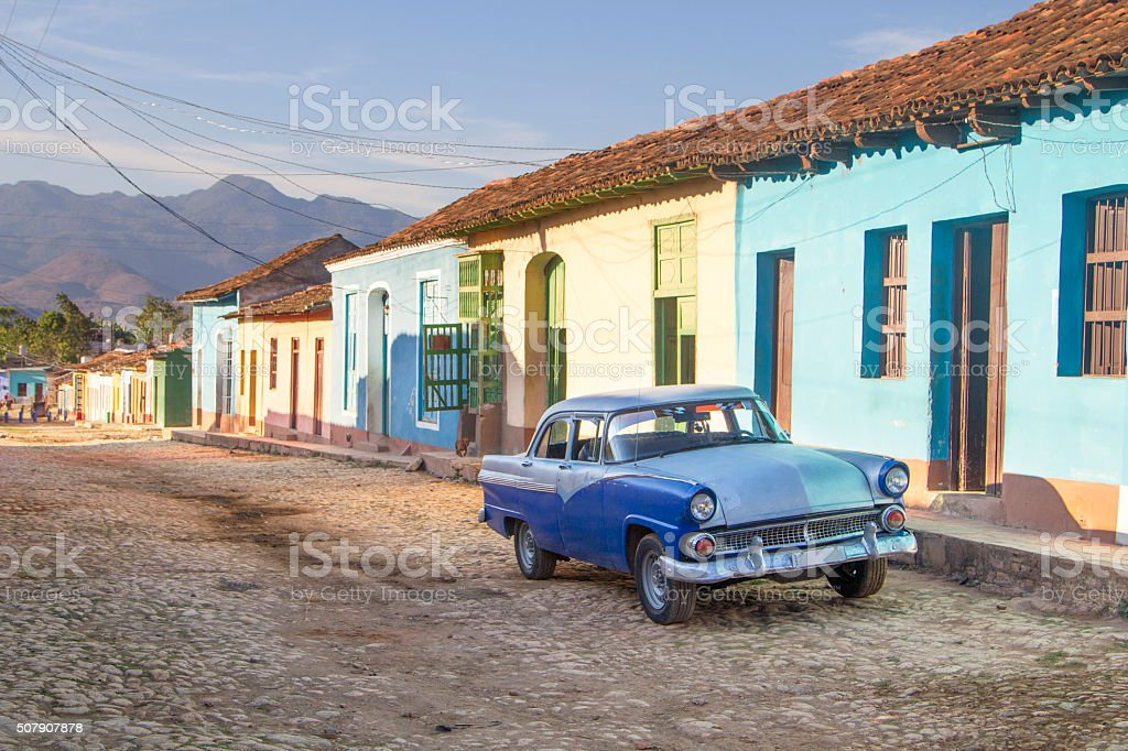Vintage car in Trinidad stock photo