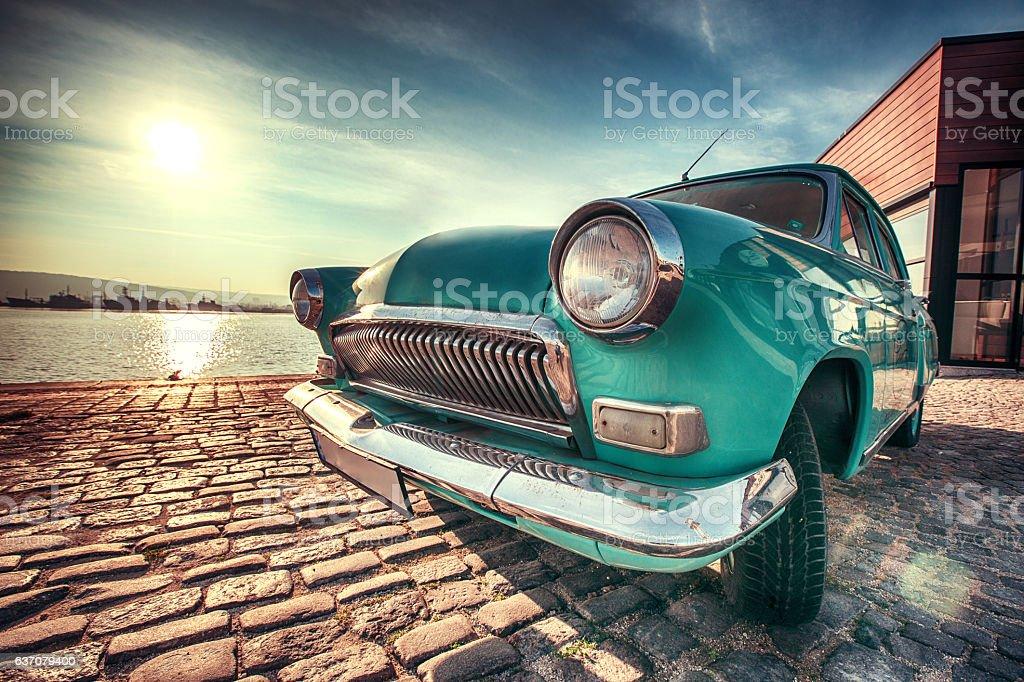 Vintage car near the sea stock photo