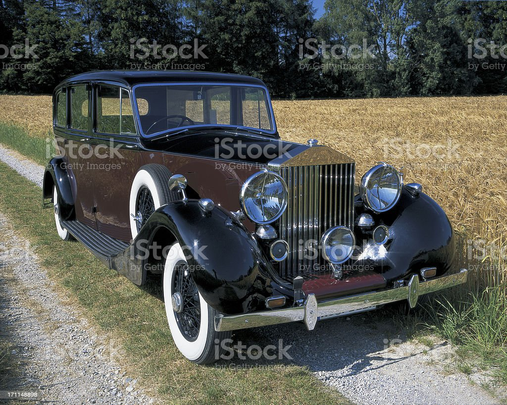 Vintage Car on  Country Road stock photo