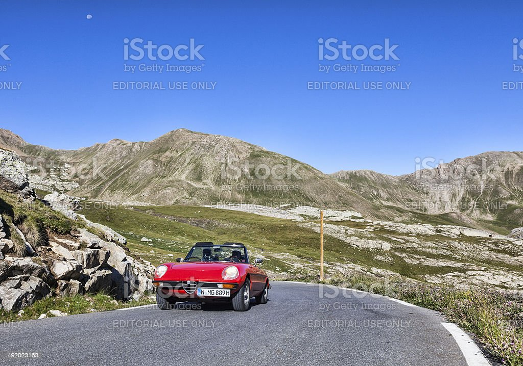 Vintage Car on the Highest Road in Europe stock photo