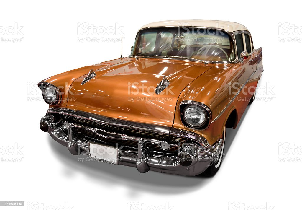 Vintage Car on White Background royalty-free stock photo