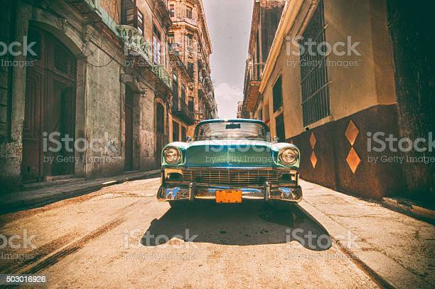 Vintage Car Parked In Havana Street Stock Photo - Download Image Now
