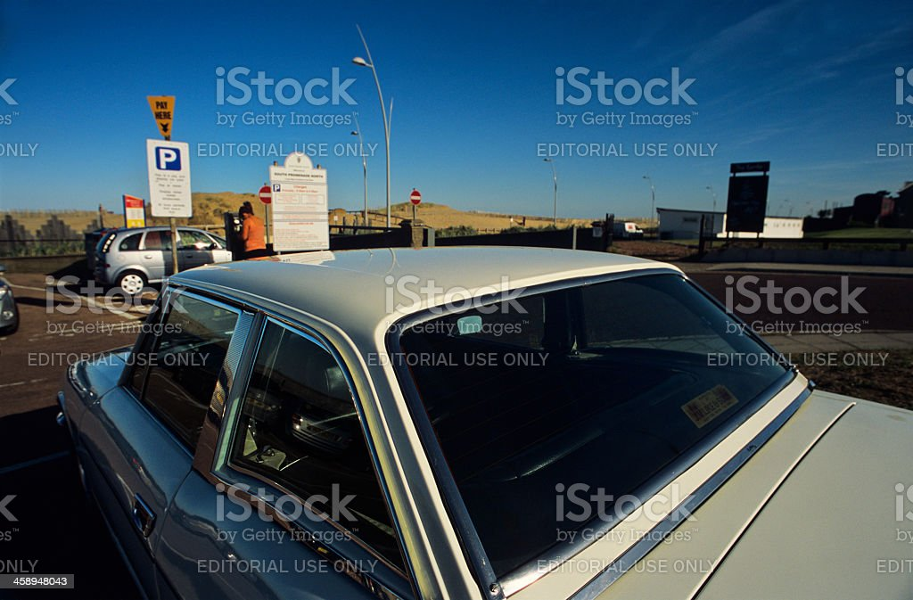 Vintage car parked in South Shields - pay and display royalty-free stock photo