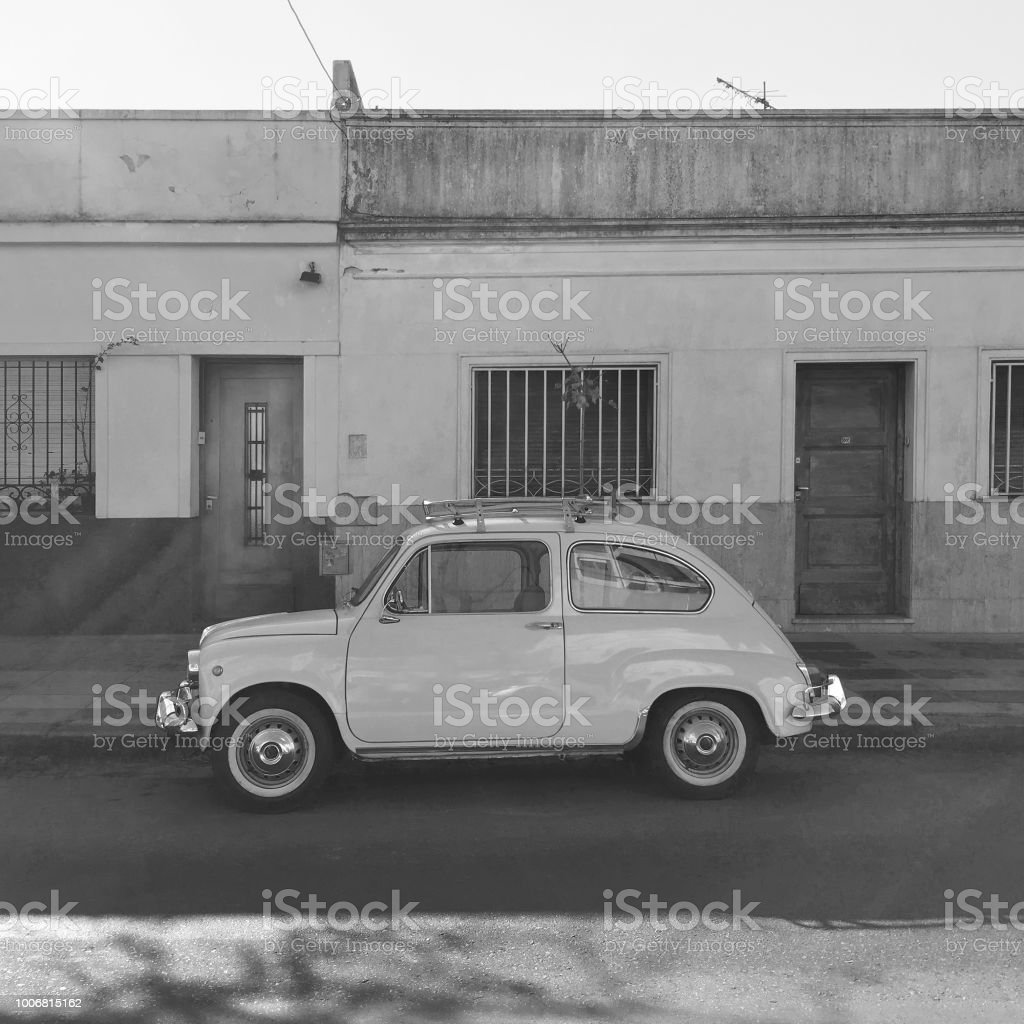 Vintage car parked in the street stock photo