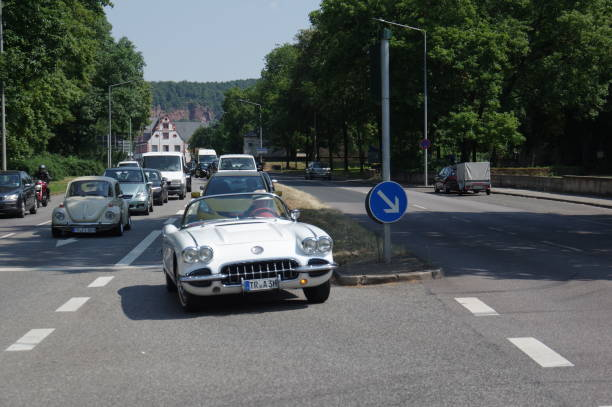 Vintage car Trier, Germany, - July 14, 2018. Vintage sports car crossing the street on a warm summer day. 1960 1969 stock pictures, royalty-free photos & images