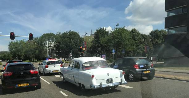Vintage car Maastricht, Netherlands, - July 09, 2018. Vintage car in the streets of in the city on a warm summer day. 1960 1969 stock pictures, royalty-free photos & images