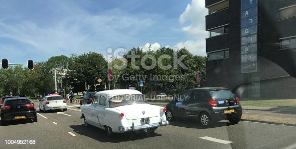 Maastricht, Netherlands, - July 09, 2018. Vintage car in the streets of in the city on a warm summer day.