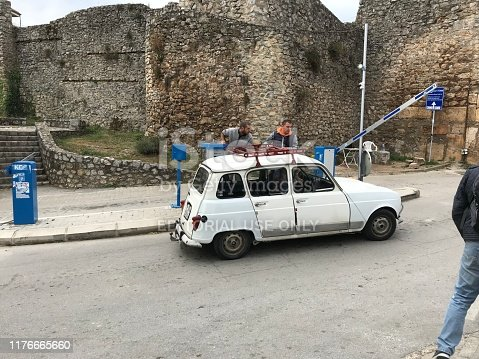 Ohrid, Macedonia, - September 21, 2019. Vintage Renault 4 in the city of Ohrid.