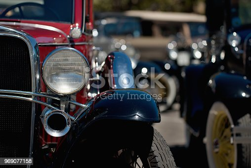 Vintage car,headlight close up