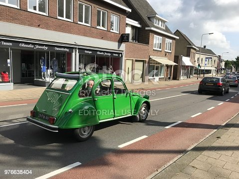 Brunssum, the Netherlands, - June 15 20815. Vintage car in the city traffic.