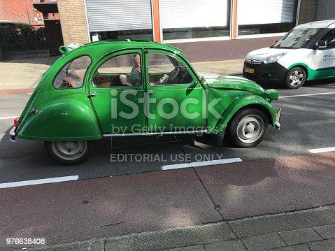Brunssum, the Netherlands, - June 15 20815. Vintage car in the city traffic.