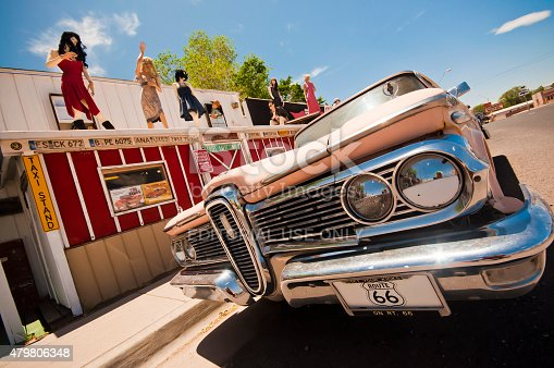 istock Seligman, USA - May 28, 2013: Vintage car Route 66 479806348